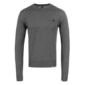 Pretty Green Hinchcliffe Grey Wool Knitted Crew Neck Sweater