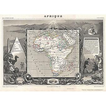Africa Map Levasseur 1852 Poster Print Giclee