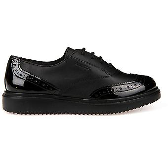 Geox Girls Thymar Lace School Shoes Black Patent