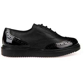 Geox meninas Thymar laço escola sapatos de couro preto
