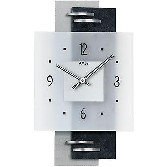 Wall clock watch quartz watch Black Silver slate aluminium AMS 36 x 22 cm