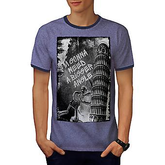 Pisa Tower Design Fashion Men Heather Blue / Navy Ringer T-shirt | Wellcoda