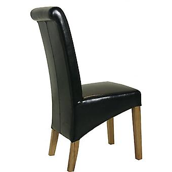 Classic Roll Top Pu Dining Chair - Black X2