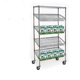 5 Tier Chrome Wire Heavy Duty Sloping Shelving Unit with Wheels-1200mm