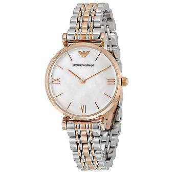 Emporio Armani AR1683 Two-Tone Silve & Gold Strap Mother of Pearl Dial Ladies Watch