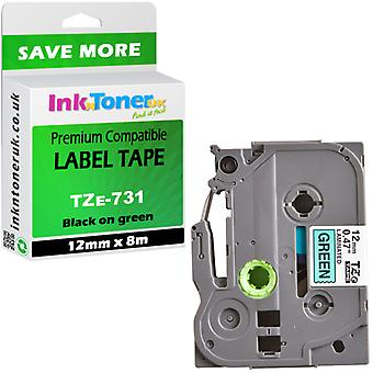 Compatible TZE731 12x8 green Cartridge for Brother PT-2460 Label