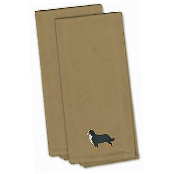 Bernese Mountain Dog Tan Embroidered Kitchen Towel Set of 2