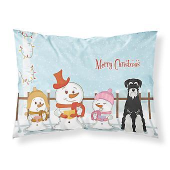 Merry Christmas Carolers Standard Schnauzer Salt and Pepper Fabric Standard Pill