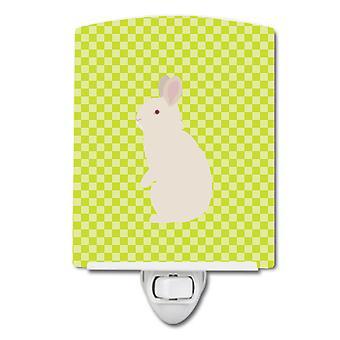 New Zealand White Rabbit Green Ceramic Night Light