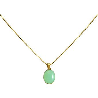 Gemshine - ladies - necklace - silver gold plated pendant 925 - chalcedony - sea green - 42 cm