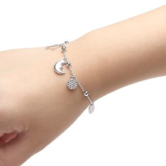 Sterling Silver Adjustable Bracelet with Cubic Zirconia Sun Moon and Star Charm, , 9