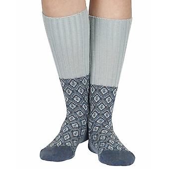 Sorrel women's warm wool knee-high socks in petrol | By Scott-Nichol