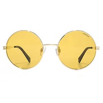 Polaroid Modern Metal Round Sunglasses In Gold Orange Polarised
