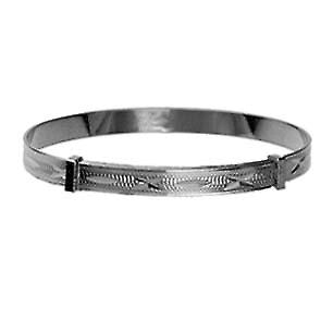 Silver 45mm diameter expanding baby Bangle with diamond cut pattern