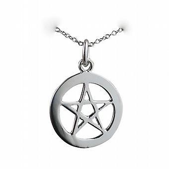 19 mm liso pentagrama no círculo pendente com um rolo de corrente de prata de 22 polegadas