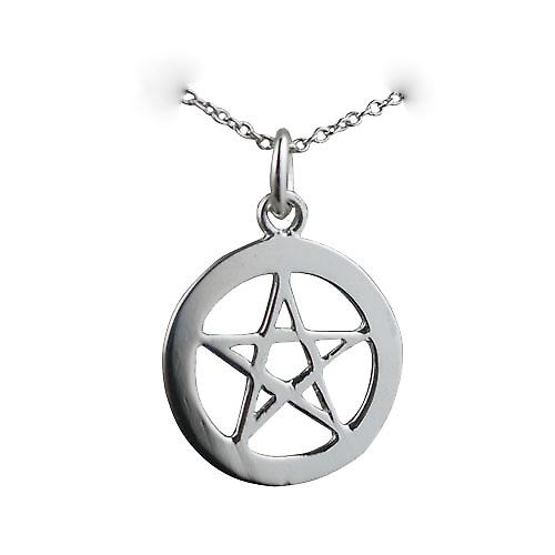 Silver 19mm plain Pentangle in circle Pendant with a rolo Chain 16 inches Only Suitable for Children