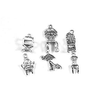 Packet 6 x Antique Silver Tibetan 18-28mm Chair Charm/Pendant Set ZX17900