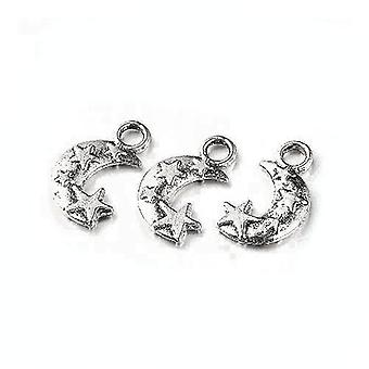Packet 10 x Antique Silver Tibetan 19mm Moon Charm/Pendant ZX08520
