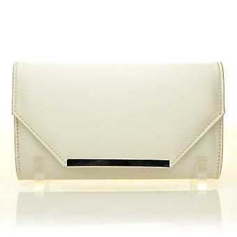 PIXIE Ivory Satin Medium Size Clutch Bag