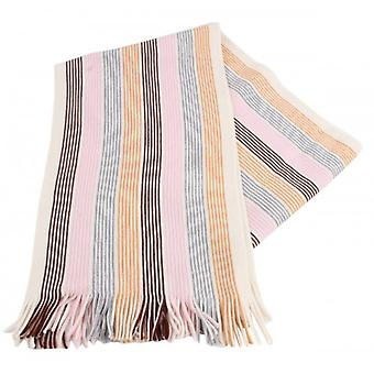 Bassin and Brown Absolom Striped Wool Scarf - White/Pink/Grey