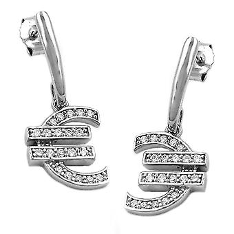 Silver glitter EURO studs earring with euro symbol 925 sterling silver