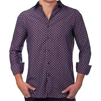 Manica lunga principali vintage Polo Club camicia camicia mens camicia modello nero uomo viola