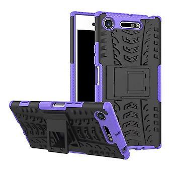 Hybrid Case 2teilig Robot Lila für Sony Xperia XZ1 G8341 G8342 Tasche Hülle Cover Schutz