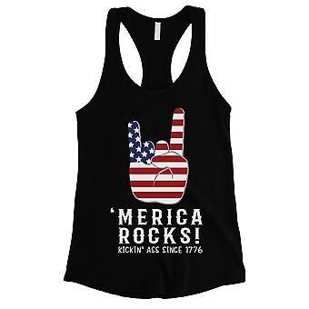 Merica rocce Womens nero carino Racerback Tank Top del 4 luglio camicia