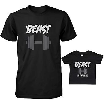 Beast and Beast In Training Dad and Baby Matching T-Shirts