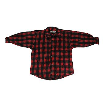 Red and Black Plaid Button Down Brushed CPO Shirt Mens