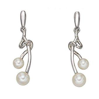 Elements Gold Freshwater Pearl Twist Earrings - White Gold/White