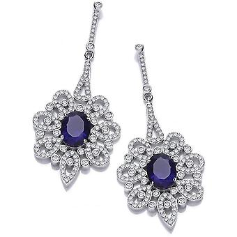 Cavendish French Belle Epoque Earrings - Silver/Sapphire