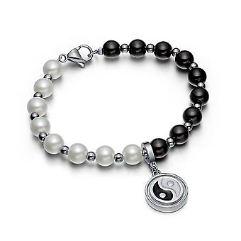Amulet Positive krefter simulert perle hvit svart Yin Yang Magic Circle energi Elegant armbånd