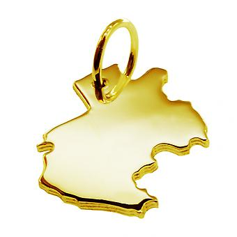 Trailer map Gabon pendant in solid 585 yellow gold