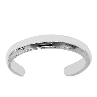 Sterling Silber Hochglanz Manschette Stil verstellbaren Zehenring