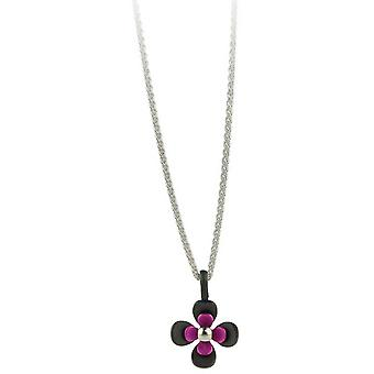 Ti2 Titanium Black Back Four Petal Flower Pendant - Candy Pink