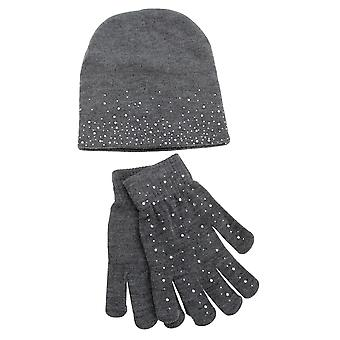 Foxbury Womens/Ladies Diamante Hat And Glove Set