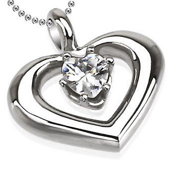 Runde hjerte med Prong sat hjerte vedhæng, rustfrit stål smykker med kæde