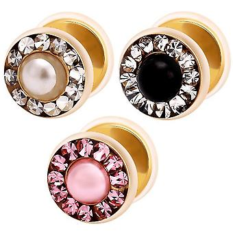 Fake Funky Cheater Ear Plug, Gold Plated, SWAROVSKI ELEMENTS Crystals And Pearl