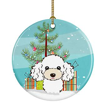 Carolines Treasures  BB1629CO1 Christmas Tree and White Poodle Ceramic Ornament