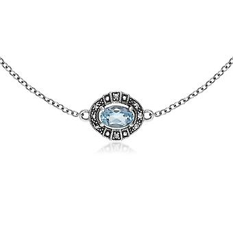 Gemondo Sterling Silver Oval Blue Topaz and Marcasite Cluster Bracelet