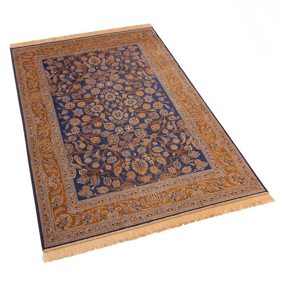 Blue Afghan Ziegler Artsilk Faux Silk Effect Rugs 5663/9 140 x 200cm