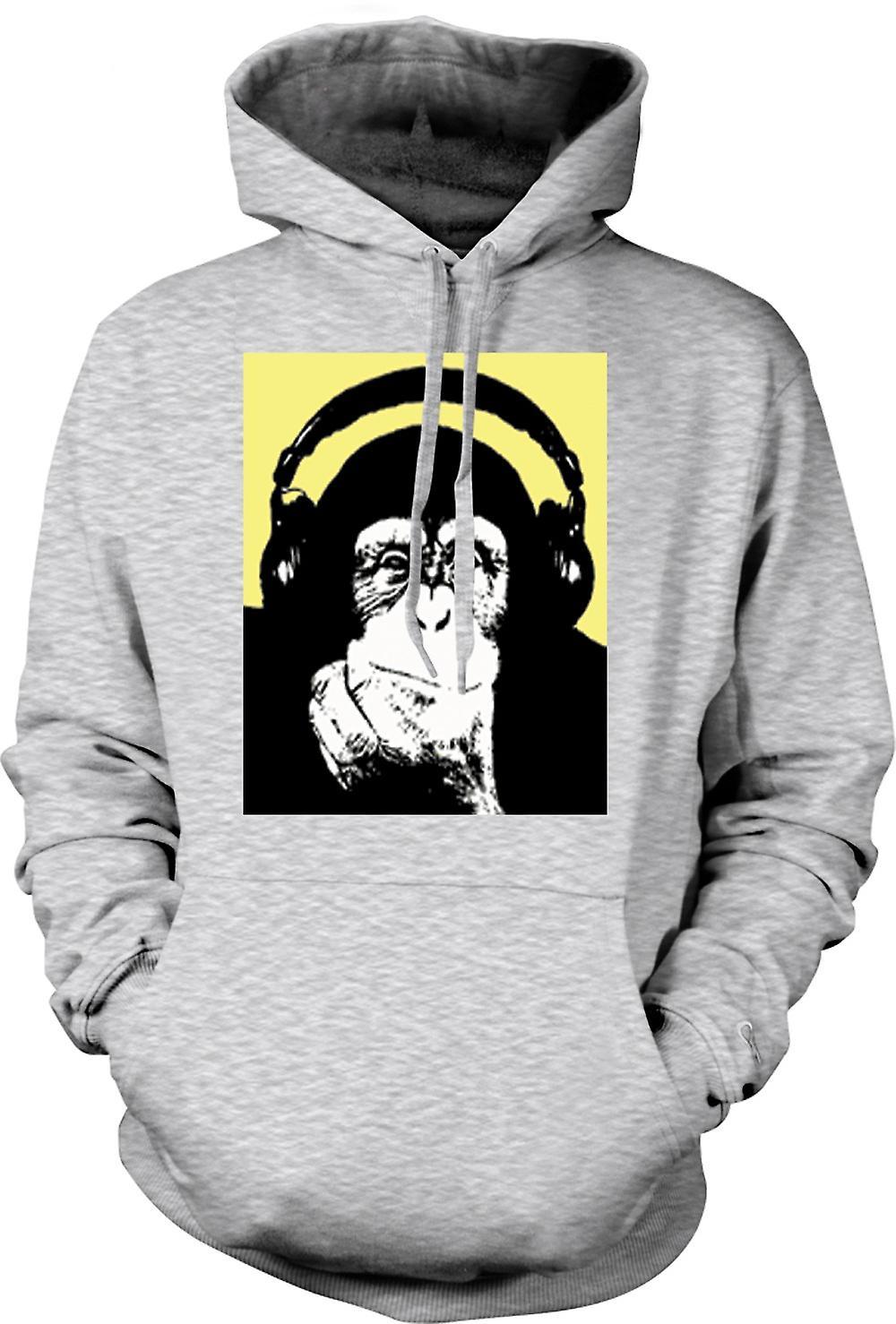 Mens Hoodie - Chimpanzee Ape DJ With Headset