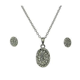 Die Olivia Collection Damen klar Strass Oval Anhänger & Ohrringe Geschenk-Set