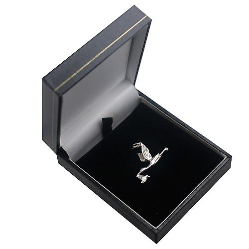 Silver 22x30mm solid Stork with baby charm