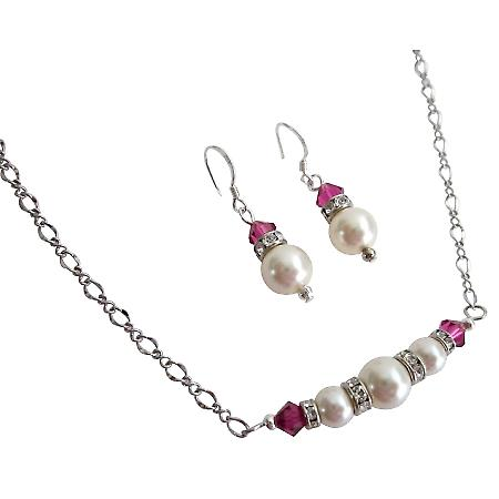 Gifts for Girlfriends Ivory Pearls Fuchsia Crystals Valentine Jewelry