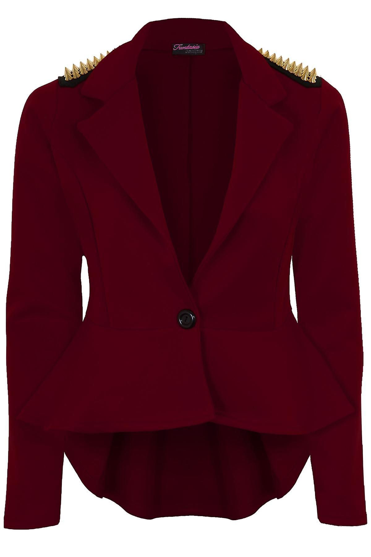 Ladies Spike Shoulder High Low Frill Shift Pleated Women's Peplum Jacket Blazer
