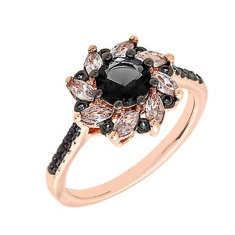 Bertha Juliet collectie vrouwen 18 k RG verzinkt zwart bloem Fashion ringmaat 5