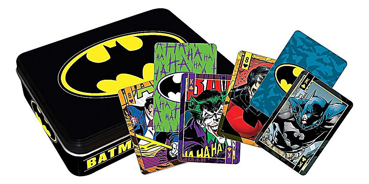 Batman tin containing two packs of 52 playing cards    (nm)