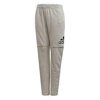 adidas Logo Boys Kids Junior Fleece Tracksuit Pant Grey/Black